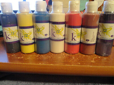 Tempera Paint-lot of 7- black, yellow, blue, white, red, brown, purple