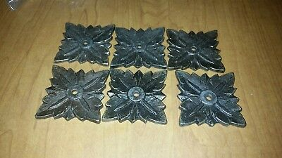 Lot Of 6 Vintage Cast Brass Plated Drawer Pulls Cabinet Knobs Back Plates
