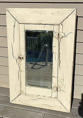 FABULOUS White WOOD Chippy PAINT BATHROOM CABINET MIRROR RECESSED Victorian