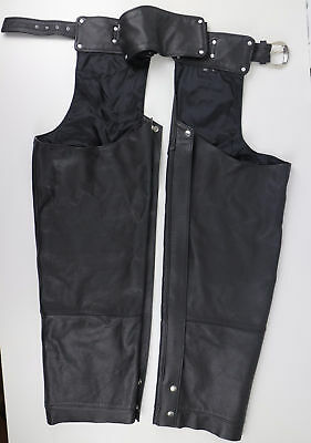 Harley Davidson Womens Black Leather Chaps Large L Lined Motorcycle Riding Zip