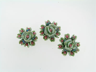 Vintage Italian Imported Luster Glazed Porcelain Clay Mint Rose Focal Beads
