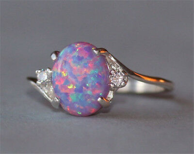 Vintage 2.3Ct Fire Opal Women 925 Silver Ring Wedding Engagement Party Size 5-11