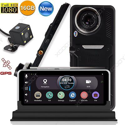 "7"" HD 1080P Dual Lens Rearview Mirror Camera Car DVR Android GPS Navigation 16GB"