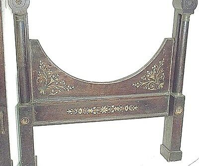 ANTIQUE EARLY 19th CENTURY FRENCH EMPIRE REGENCY BRASS INLAID MAHOGANY BED