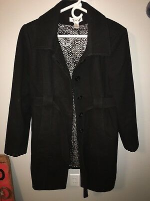 Motherhood Maternity Large Black Peacoat Long Button Up Coat Jacket EUC