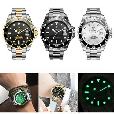 TEVISE Men Automatic Mechanical Stainless Steel Date Military Watch Waterproof