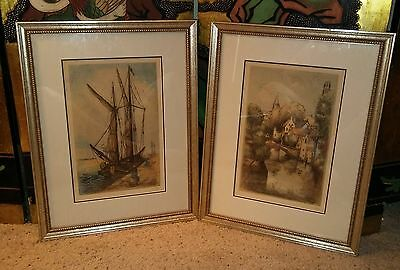 Pair of Antique Color Etchings Framed and Matted Pencil Signed