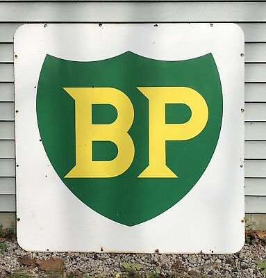 Vintage Original BP British Petroleum Gas Service Station Porcelain Sign 46x46