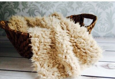 "Light Camel Faux Flokati curly fur Photography Blanket props 18""x20"" Inches"