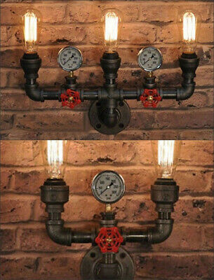 Hot Iron Industrial Water Pipe Vintage Wall Lamp Sconce Retro Light with Switch