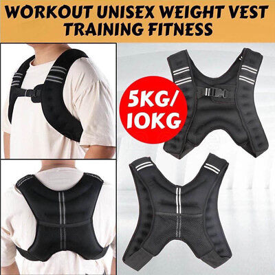 5KG/10KG Adjustable Workout Weighted Vest Gym Crossfit Training Exercise Running