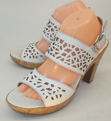 92276bab0f04 SOFFT WOMENS SHOES Heels Sandals US 9.5 M White Leather Cut Outs Ankle  Strap -  45.49