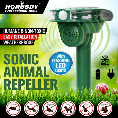 Solar Ultrasonic Animal Repellent Repeller LED PIR Motion Sensor Bird Cat Dog