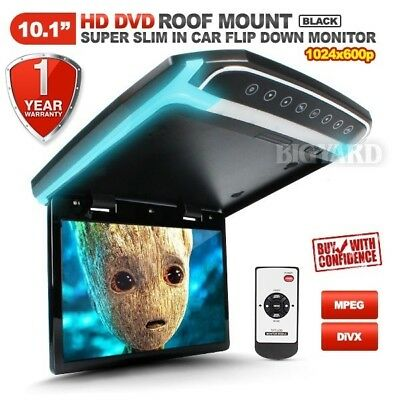 """10.1"""" Slim HD TFT LCD Black Roof Mount Overhead DVD Flip-Down Monitor with LED"""