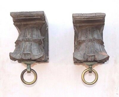 1850's Carved Vintage Rare Wooden Wall Hanging Bracket Pair PE-29 HOME DECOR EDH