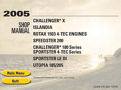 Seadoo 2005 Speedster Sportster LE DI Challenger X 180 Islandia Shop Manual CD