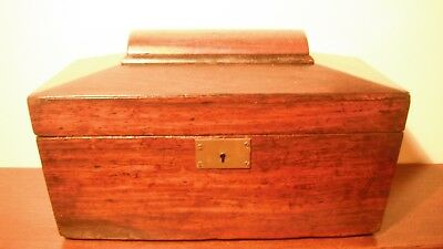 Regency Rosewood  Sarcophagus Shaped Tea Caddy with Key; No interior