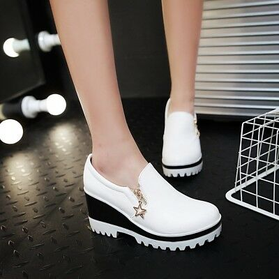 Womens wedge High Heel zipper Shoes Platform pumps Casual sneaker Non-slip Shoes