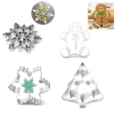 3D Stainless Steel Cookie Cutter Set Christmas Biscuit Mold Pastry Baking Tools