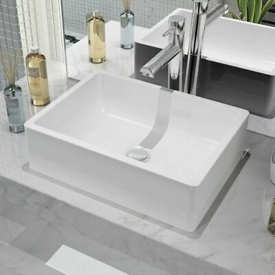 vidaXL Bathroom Cloakroom Power Room Countertop Washing Basin Sink Ceramic White