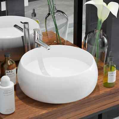 vidaXL Bathroom Cloakroom Countertop Washing Basin Sink Round Ceramic White