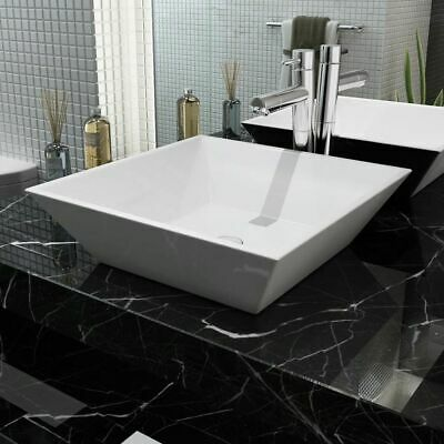 vidaXL Bathroom Cloakroom Countertop Washing Basin Sink Square Ceramic White