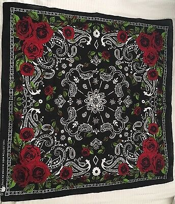 Rockabilly Black & Red Roses Flowers Paisley Dog Bandana Headwrap Doo Rag