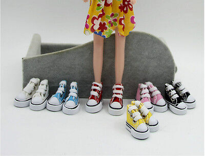 1 Pair 1/6 Cute Lace Up Canvas Shoes Fits 12 inch Barbie Doll Shoes LD