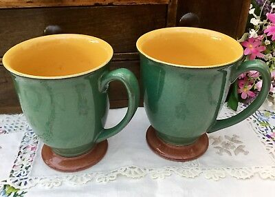 Denby Spice - Footed Mug Set Of 2 - Green With Brown Foot And Yellow Inside