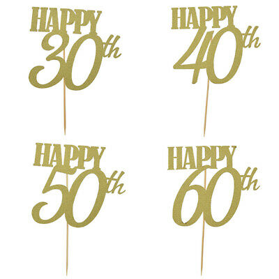 2pcs Happy 30/40/50/60th Cupcake Cake Toppers Birthday Wedding Anniversary Party