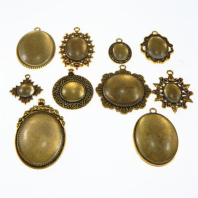 Assorted 10/12 Sets Glass Cover Cameo Alloy Setting Tray Charms Pendants Crafts