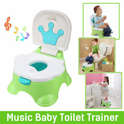 3 in 1 Baby Toilet Trainer Toddler Kid Music Potty Training Safety Seat Chair AU