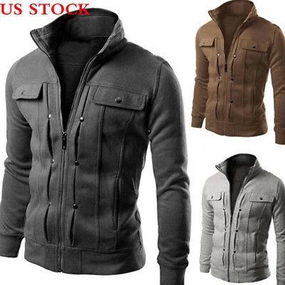 Fashion Mens Jacket Warm Winter Casual Coat Overcoat Outwear Black Military Slim