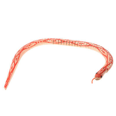 Red Beige Wooden Flexibility Simulation Bendy Snake Toy Adorn J9A4
