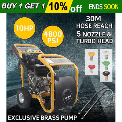 NEW Jet 4800 PSI High Pressure Washer Cleaner 10 HP Water Petrol Gurney30M Hose