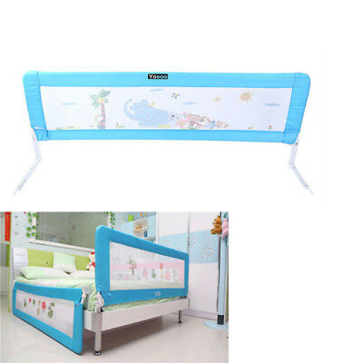 180x 64 cm Foldable Child Baby Kids Safety Bed Rail Guard Protection Blue 1.8M