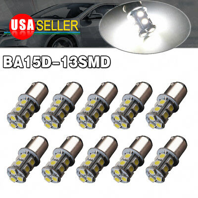 10 X White BA15D 5050 13 SMD Marine Boat LED Interior Light Bulbs 1073 1142 12V