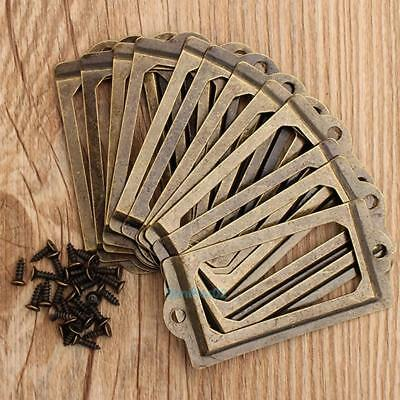12X Retro Antique Brass Metal Label Tag Pull Frame Handle File Name Card Holder