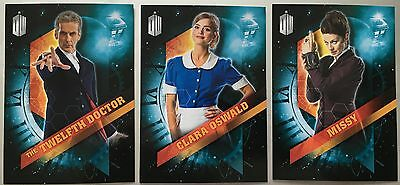 TOPPS DOCTOR DR WHO 3 X EXCLUSIVE CARDS FROM THE USA 12th DR, CLARA & MISSY