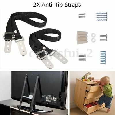 2Pc Anti-tip TV Furniture Positioning Straps Anchor Baby / Child Safety Proofing