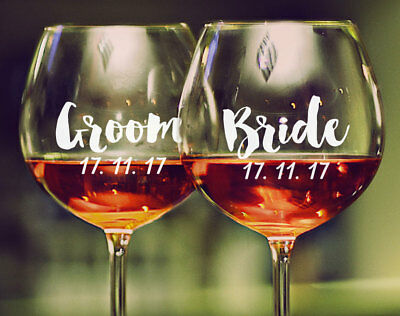 1 x Custom Date Wedding Wine Glass Mug Cup Decal Sticker Bridal Party Gift