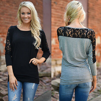 US Women Casual Long Sleeve Lace Tops Shirt Ladies Loose T-shirt Blouse Tee Top