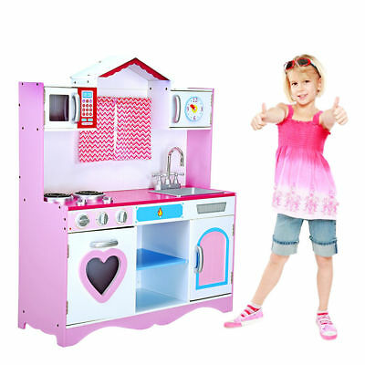Girls Kids Wooden Play Kitchen Large PINK  Role Play Pretend Toy Furniture NEW