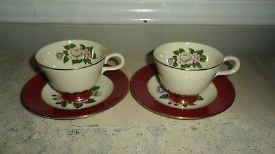 2 Homer Laughlin Maroon Margaret Rose Cups And Saucers Cavalier Eggshell