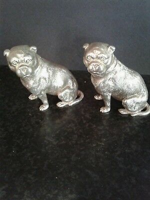 Pair Antique Novelty Silver Bull Dog Pepper Shakers