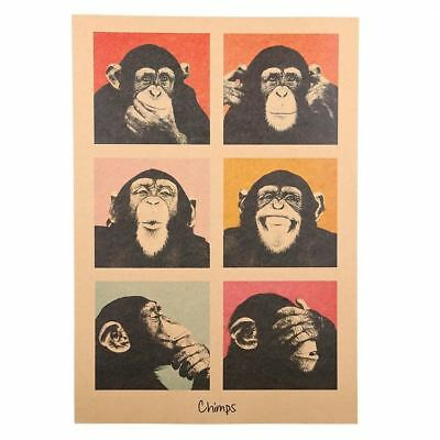 1Pcs Vintage Poster Gorilla Adornment Bar Counter Retro Kraft Paper Posters Movi