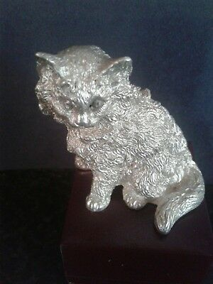 Novelty Solid Sterling Silver Cat London,  Dated 1958 By Richard Comyns