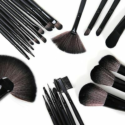 Professional 32 Piece Kabuki Make Up Brush Set and Cosmetic Brushes Case Black