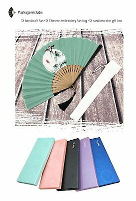 Hand Held Cool Fan Large Black Silk Folding Design Bamboo Chinese Style Handheld