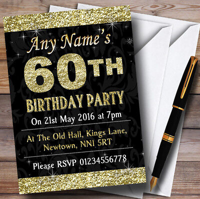 Glitter Look Gold 60Th Birthday Party Customized Invitations
